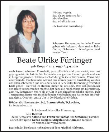 Todesanzeige von Beate Ulrike Fürtinger von Vorarlberger Nachrichten