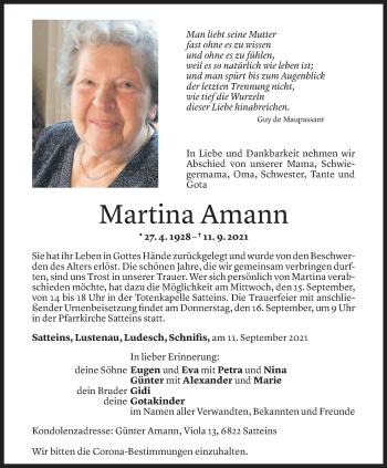 Todesanzeige von Martina Amann von Vorarlberger Nachrichten