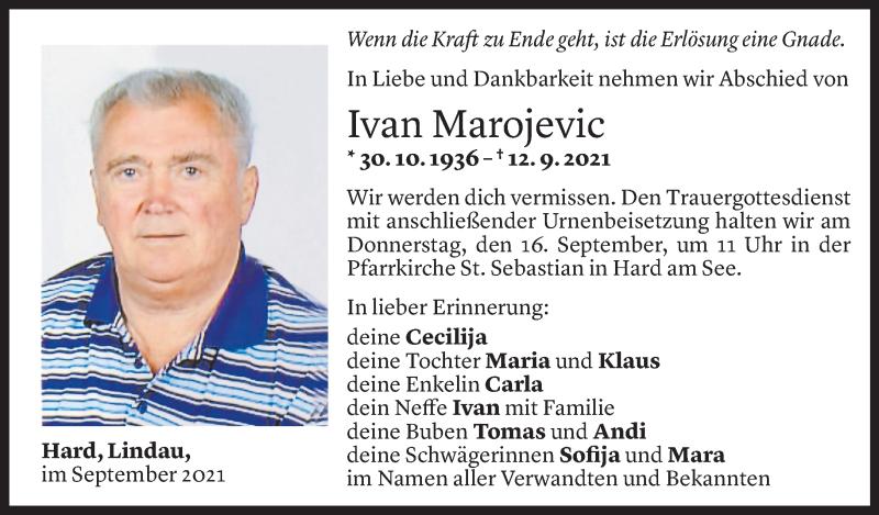 Todesanzeige für Ivan Marojevic vom 13.09.2021 aus Vorarlberger Nachrichten