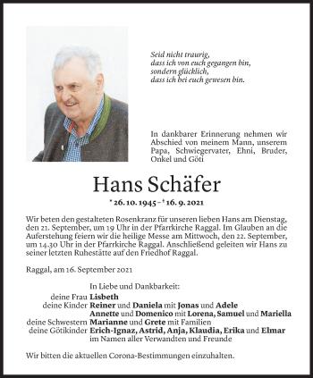 Todesanzeige von Hans Schäfer von Vorarlberger Nachrichten