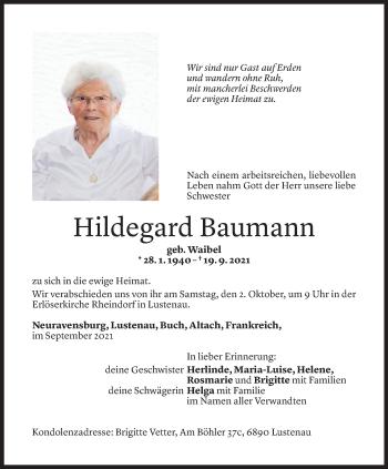 Todesanzeige von Hildegard Baumann von Vorarlberger Nachrichten
