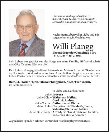 Todesanzeige von Willi Plangg von Vorarlberger Nachrichten