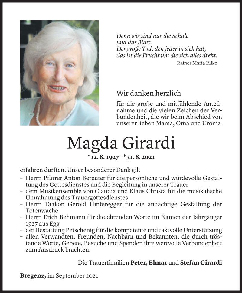 Todesanzeige für Magda Girardi vom 14.09.2021 aus Vorarlberger Nachrichten
