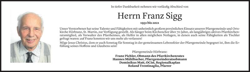 Todesanzeige für Franz Sigg vom 10.09.2021 aus Vorarlberger Nachrichten
