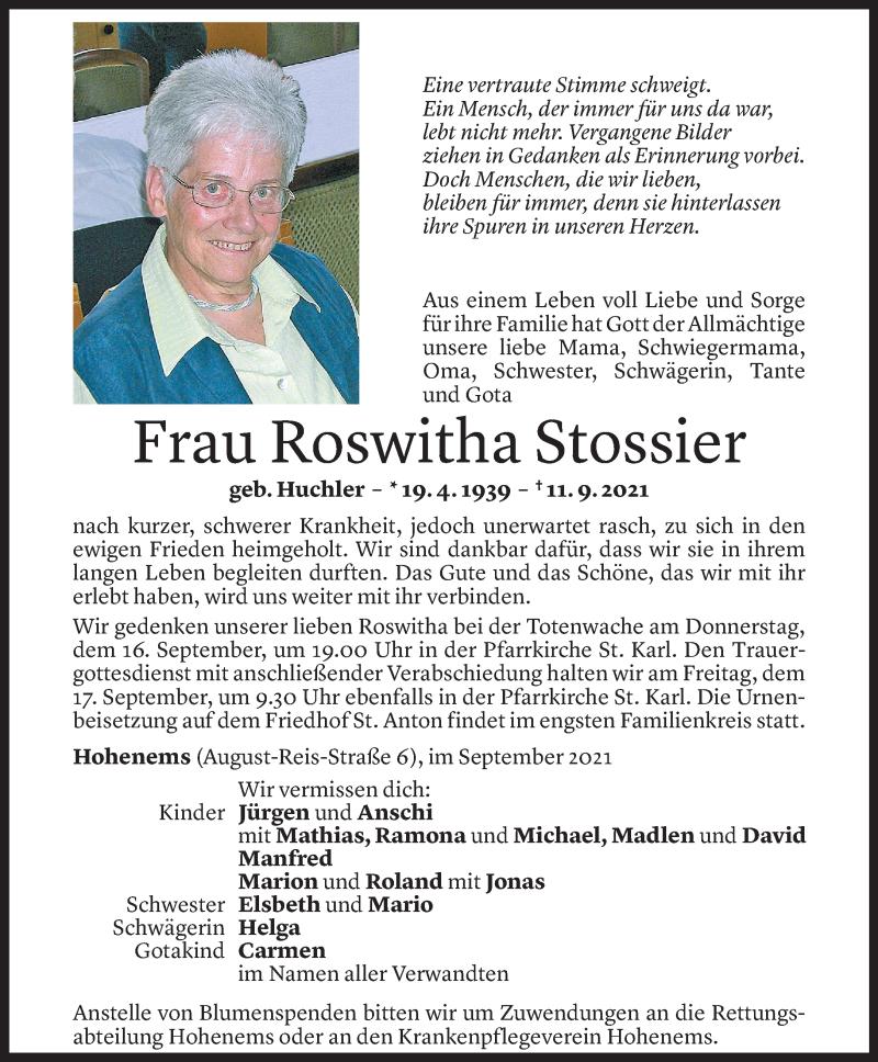 Todesanzeige für Roswitha Stossier vom 15.09.2021 aus Vorarlberger Nachrichten