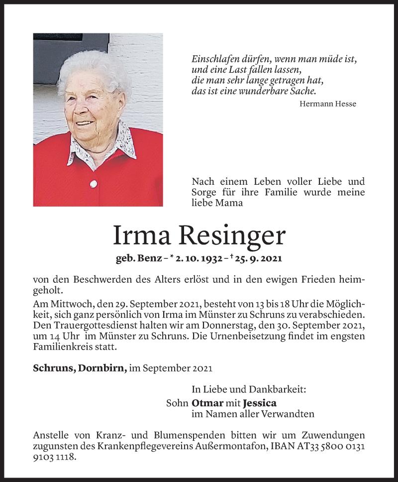 Todesanzeige für Irma Resinger vom 27.09.2021 aus Vorarlberger Nachrichten