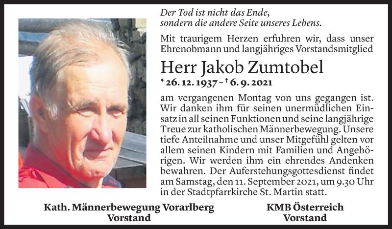 Todesanzeige für Jakob Zumtobel vom 09.09.2021 aus Vorarlberger Nachrichten