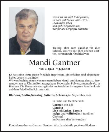 Todesanzeige von Manfred Gantner von Vorarlberger Nachrichten
