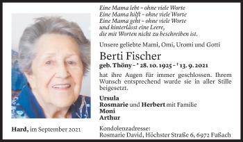 Todesanzeige von Berti Fischer von Vorarlberger Nachrichten
