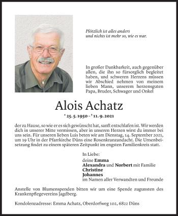 Todesanzeige von Alois Achatz von Vorarlberger Nachrichten