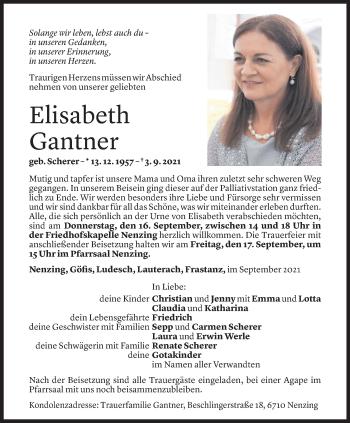 Todesanzeige von Elisabeth Gantner von Vorarlberger Nachrichten