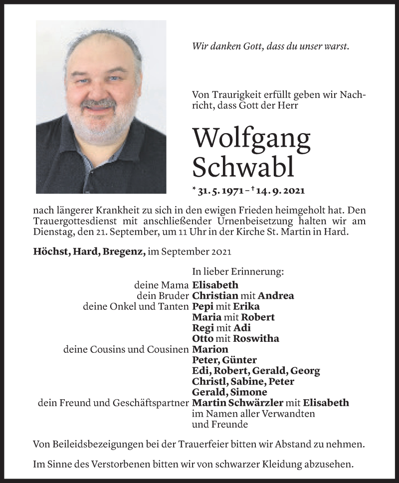 Todesanzeige für Wolfgang Schwabl vom 17.09.2021 aus Vorarlberger Nachrichten