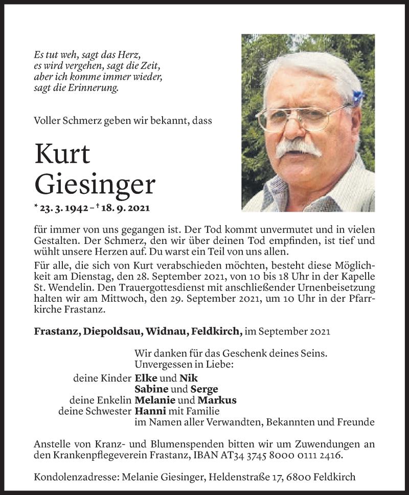 Todesanzeige für Kurt Giesinger vom 24.09.2021 aus Vorarlberger Nachrichten