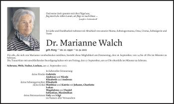 Todesanzeige von Marianne Walch von Vorarlberger Nachrichten