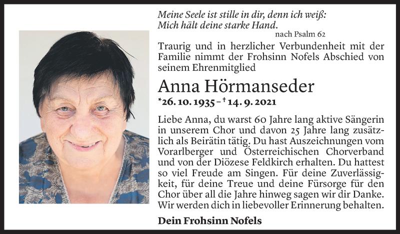 Todesanzeige für Anna Hörmanseder vom 17.09.2021 aus Vorarlberger Nachrichten